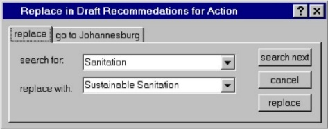 "replace ""sanitation"" with ""sustainable sanitation"""